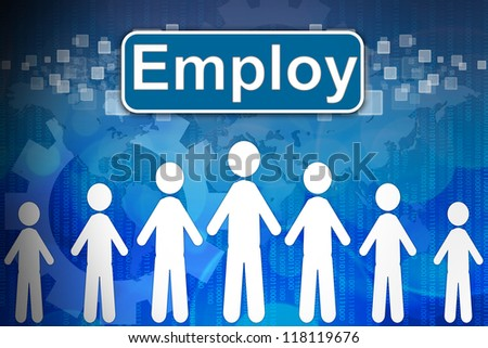 Employ ,Business concept in word Human resources - stock photo