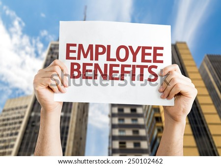 Employee Benefits card with a urban background - stock photo