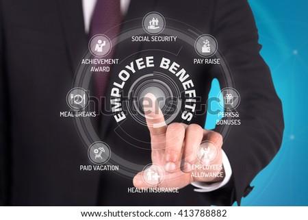 EMPLOYEE BENEFITS TECHNOLOGY COMMUNICATION TOUCHSCREEN FUTURISTIC CONCEPT - stock photo