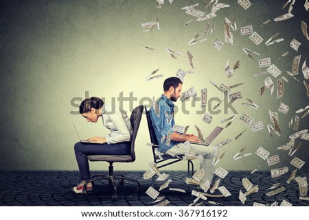 Employee compensation economy concept. Woman working on laptop sitting next to young  man under money rain. Pay difference concept.  - stock photo