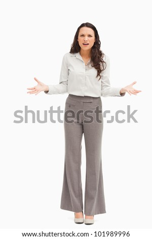 Employee confused against white background - stock photo