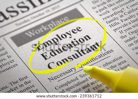 Employee Education Consultant Vacancy in Newspaper. Job Seeking Concept. - stock photo
