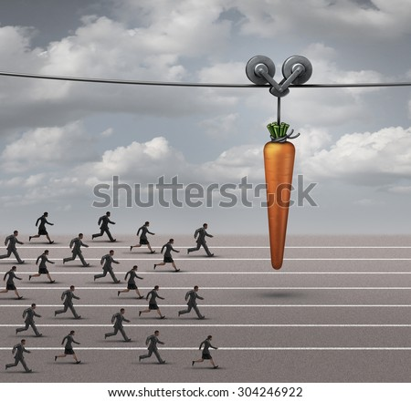 Employee incentive business concept as a group of businessmen and businesswomen running on a track towards a dangling carrot on a moving cable as a financial reward metaphor to motivate for a goal. - stock photo