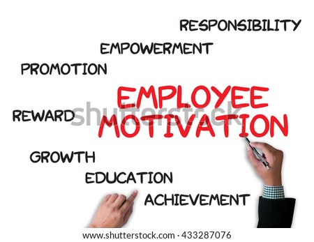 EMPLOYEE MOTIVATION businessman work on white broad, top view