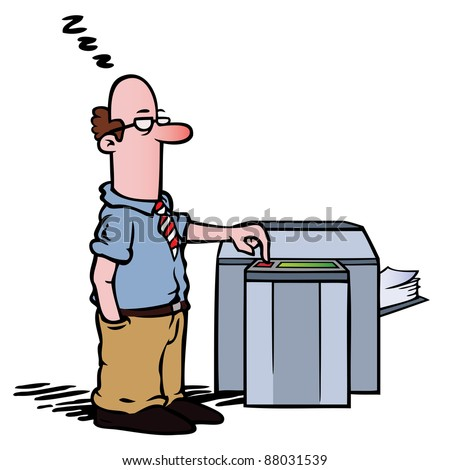 Employee standing half asleep at the copy machine, waiting for documents to be photocopied. - stock photo