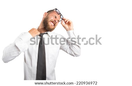 Employee suffering from stress and feeling headache. - stock photo