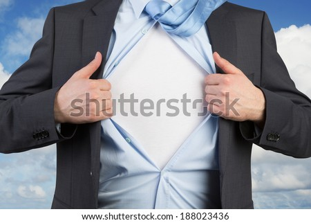 Employee tearing the shirt. Blank. - stock photo