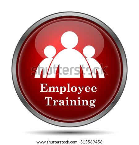 Employee training icon. Internet button on white background.  - stock photo