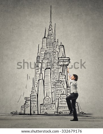 Employee trying to reach the top - stock photo