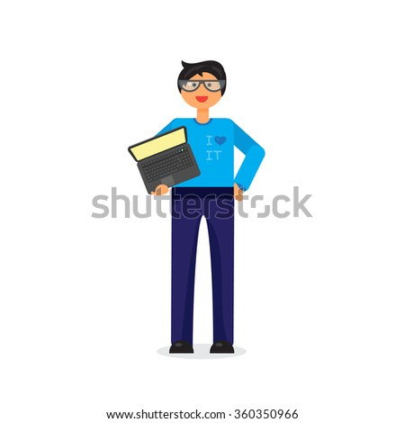 Employee with notebook. Programmer or admin with PC.  - stock photo