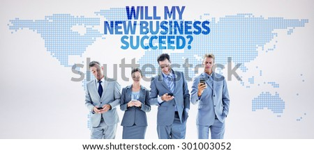 Employees using their mobile phone against blue world map on white background - stock photo