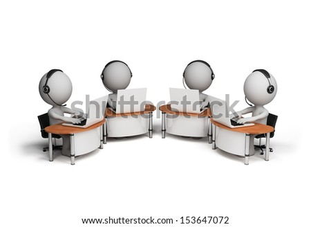 Employees working in a call center. 3d image. White background. - stock photo