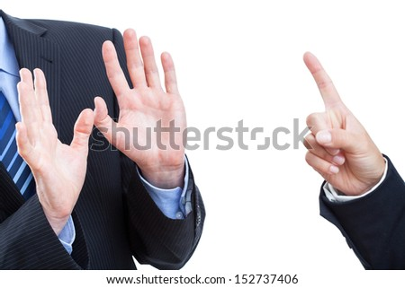 Employer screaming at his worker, isolated - stock photo