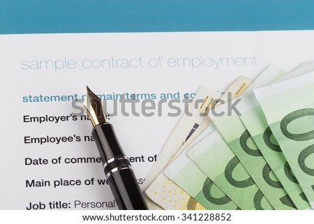 employment contract with fountain pen and euro - stock photo
