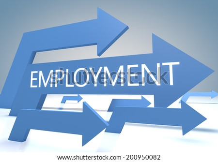 Employment 3d render concept with blue arrows on a bluegrey background. - stock photo