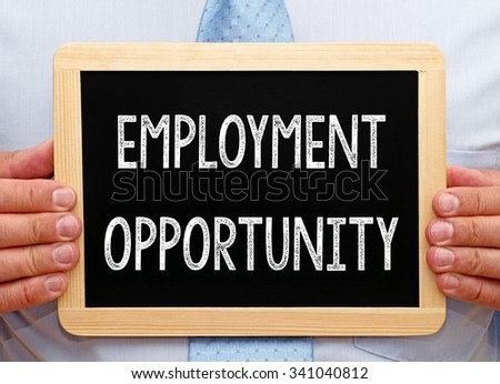 Employment Opportunity - Businessman with chalkboard - stock photo