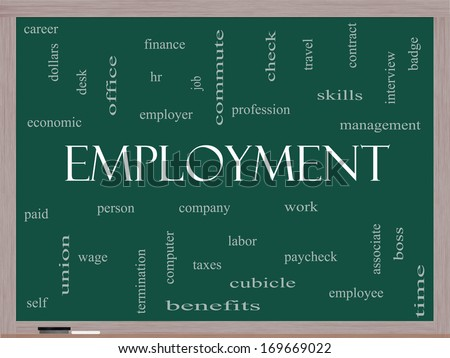 Employment Word Cloud Concept on a Blackboard with great terms such as work, company, boss, job and more. - stock photo