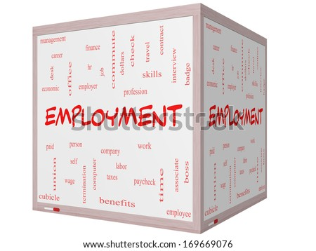 Employment Word Cloud Concept on a 3D Cube Whiteboard with great terms such as work, company, boss, job and more. - stock photo