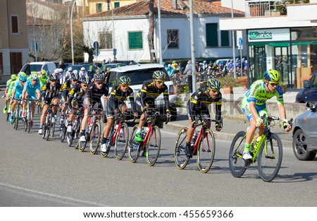 Empoli, Italy - March 13, 2015: The passage of the Tyrrhenian to the Adriatic in Empoli. Third step of cycling race Tirreno-Adriatico from Cascina to Arezzo.