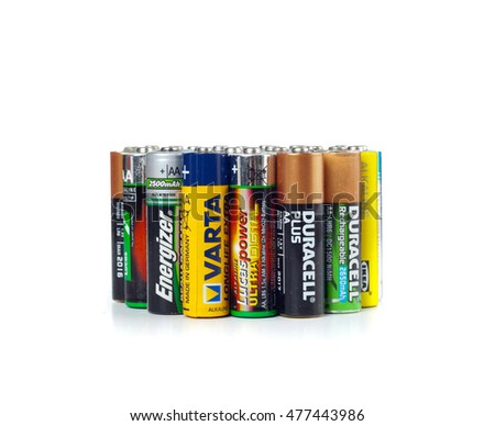 Empoli, Italy - September 01, 2016:  Different types of used batteries ready for recycling. Each year in Europe more than 2 billion batteries are thrown.