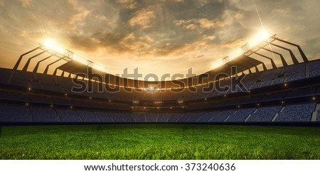 emptry stadium evening  - stock photo