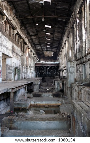 Empty abandoned paper factory