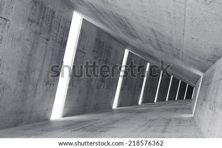 Empty abstract concrete interior, 3d render of pitched tunnel  - stock photo