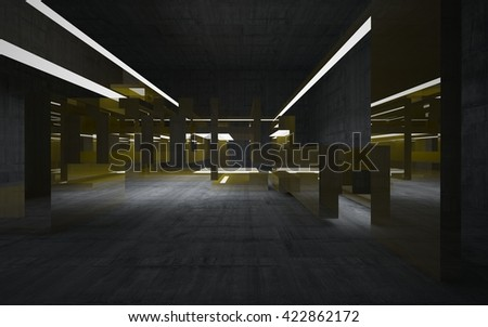 Empty abstract concrete room interior with gold sculpture. 3D illustration. 3D rendering