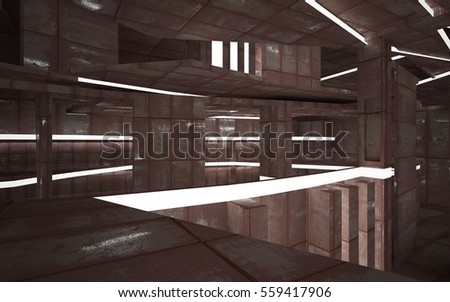 Empty abstract room interior of sheets rusted metal. Architectural background. Night view of the illuminated. 3D illustration and rendering
