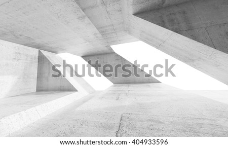 Empty abstract white concrete interior design with windows and chaotic columns structures. Modern architecture background, 3d render illustration - stock photo