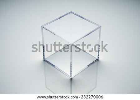 empty acrylic cube - stock photo