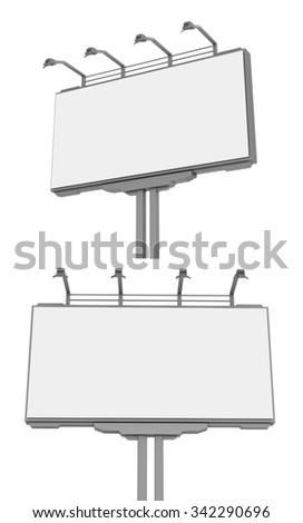 Empty advertisement hoarding , billboard . Isolated - stock photo