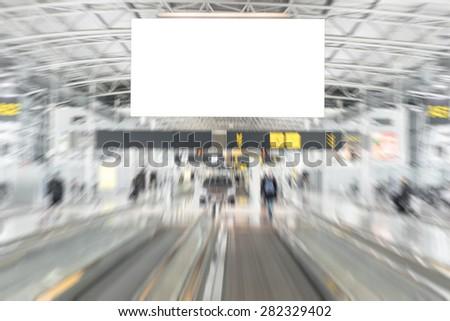 Empty advertising billboard in airport - stock photo