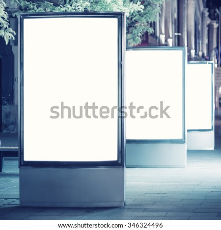 Empty advertising panels at night