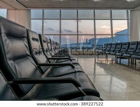 Empty airport terminal  - stock photo