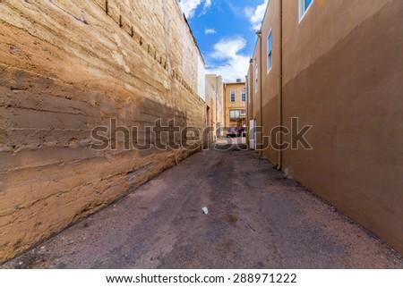 Empty Alley in Santa Fe  - stock photo