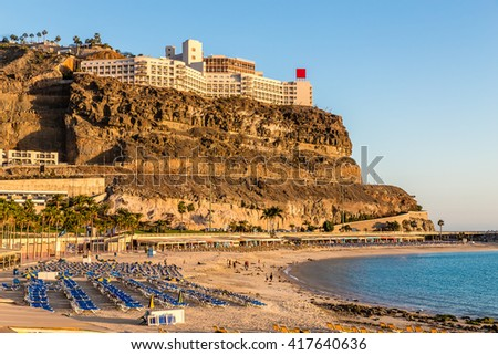 Empty Amadores Beach With Hotel Above During Sunset - Puerto Rico, Gran Canaria, Canary Island, Spain, Europe