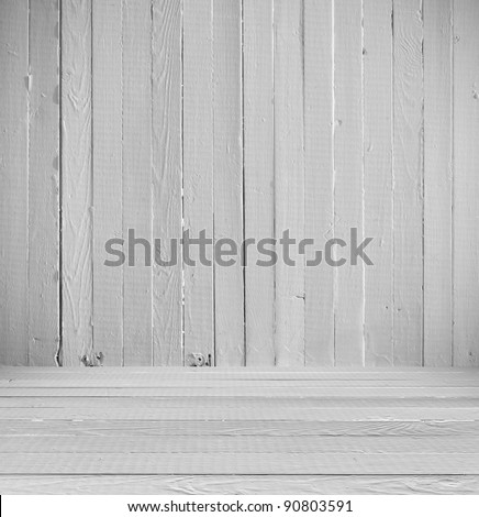 Empty an Interior of vintage room without ceiling from white painted wall and old wooden floor. Light pattern gallery to the exhibition. Realistic 3d effect - stock photo