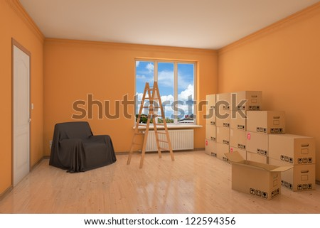 Empty apartment during relocation with moving boxes and ladder - stock photo