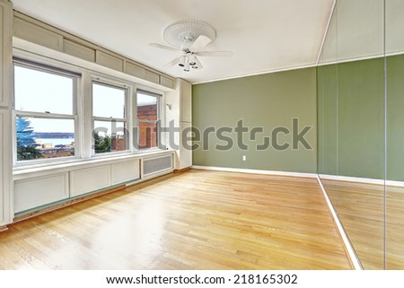 Empty apartment interior in old residential building with bay view. Downtown, Seattle. Bedroom with green wall and large mirror. Old window system