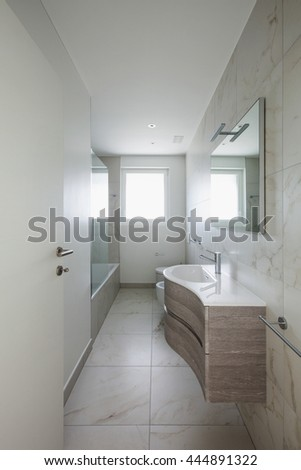 empty apartment, open door of the bathroom, interior