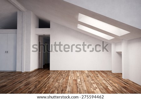 Empty appartment in the attic with fir wood hardwood (3D Rendering) - stock photo