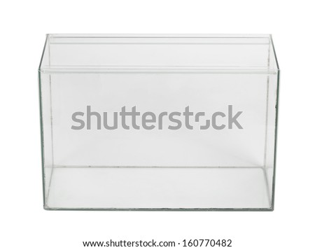 Empty aquarium isolated on white - stock photo