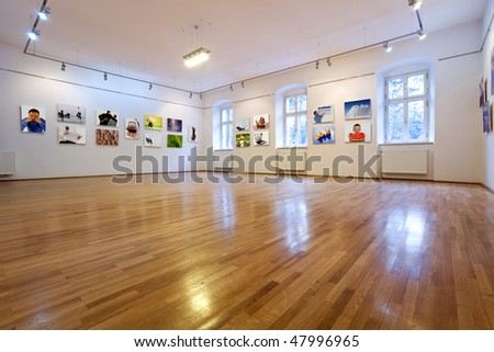 Empty art gallery view with pictures - all images from my portfolio - stock photo