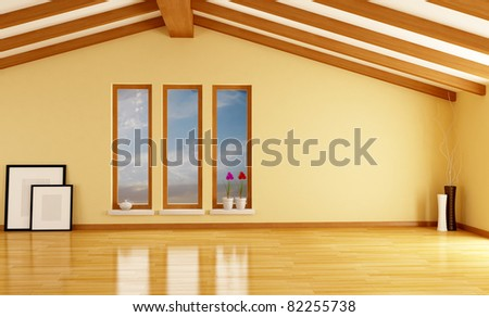empty attic with wooden beam - rendering- excclusive design - the sky on background is a my photo - stock photo