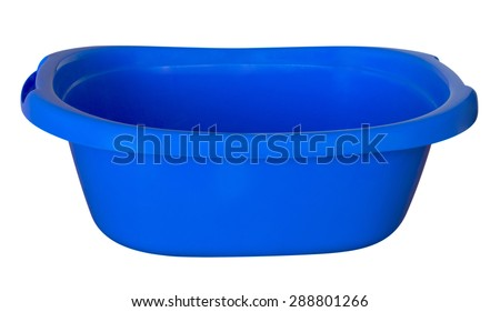 Empty baby plastic bath tub isolated on white. Clipping path included. - stock photo