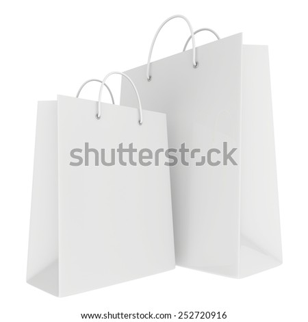 Empty bags isolated on white background. 3d render