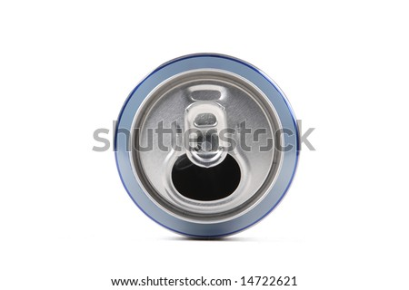 Empty bank of beer on a white background
