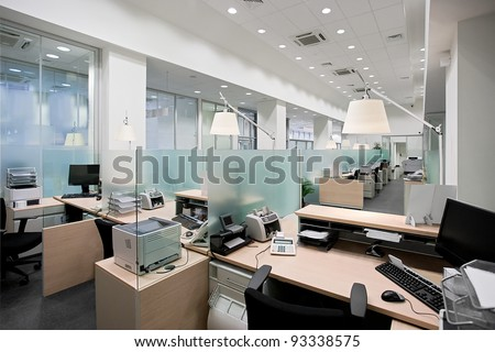 Empty bank office with desks in raw