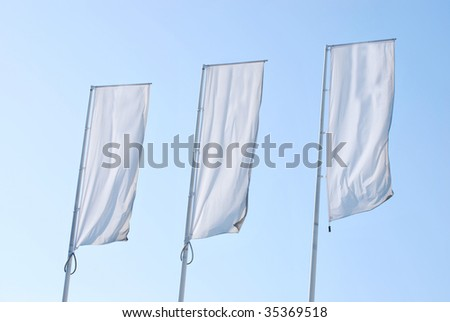 Empty banners over the sky. Blank Space for your text and graphics - stock photo